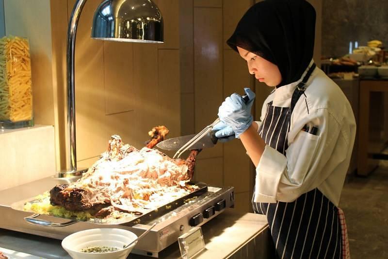 """Lamb station at Relish's """"Seribu Satu Malam"""" buffet"""