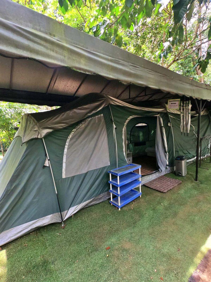 The glamping tent at Tanah Aina Fahad.