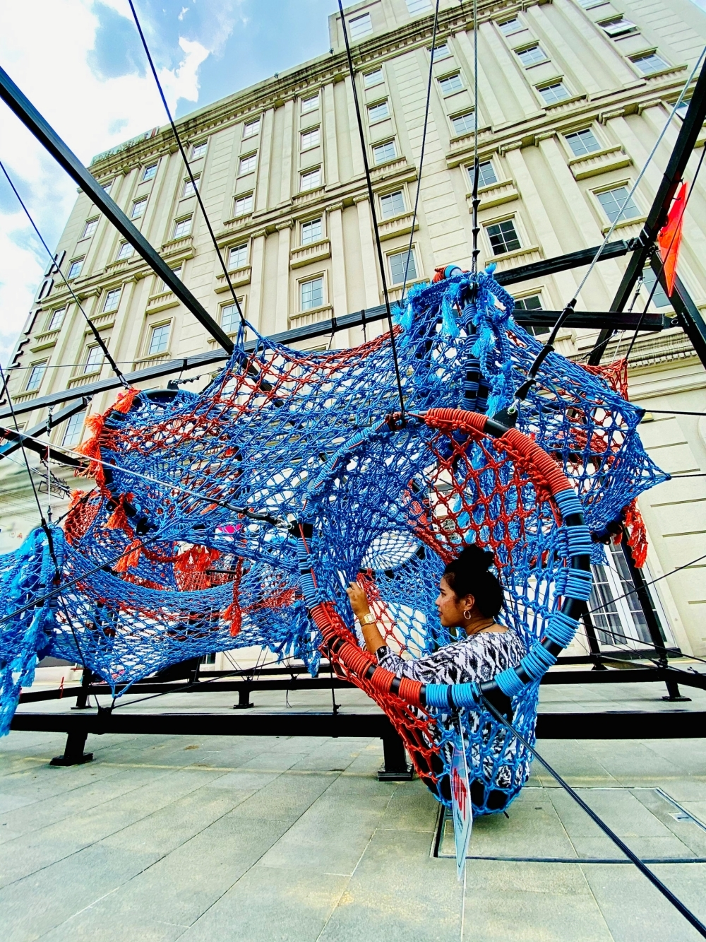 The Brain Project, a giant Macrame Fibre art installation next to the iconic Avenue J Hotel