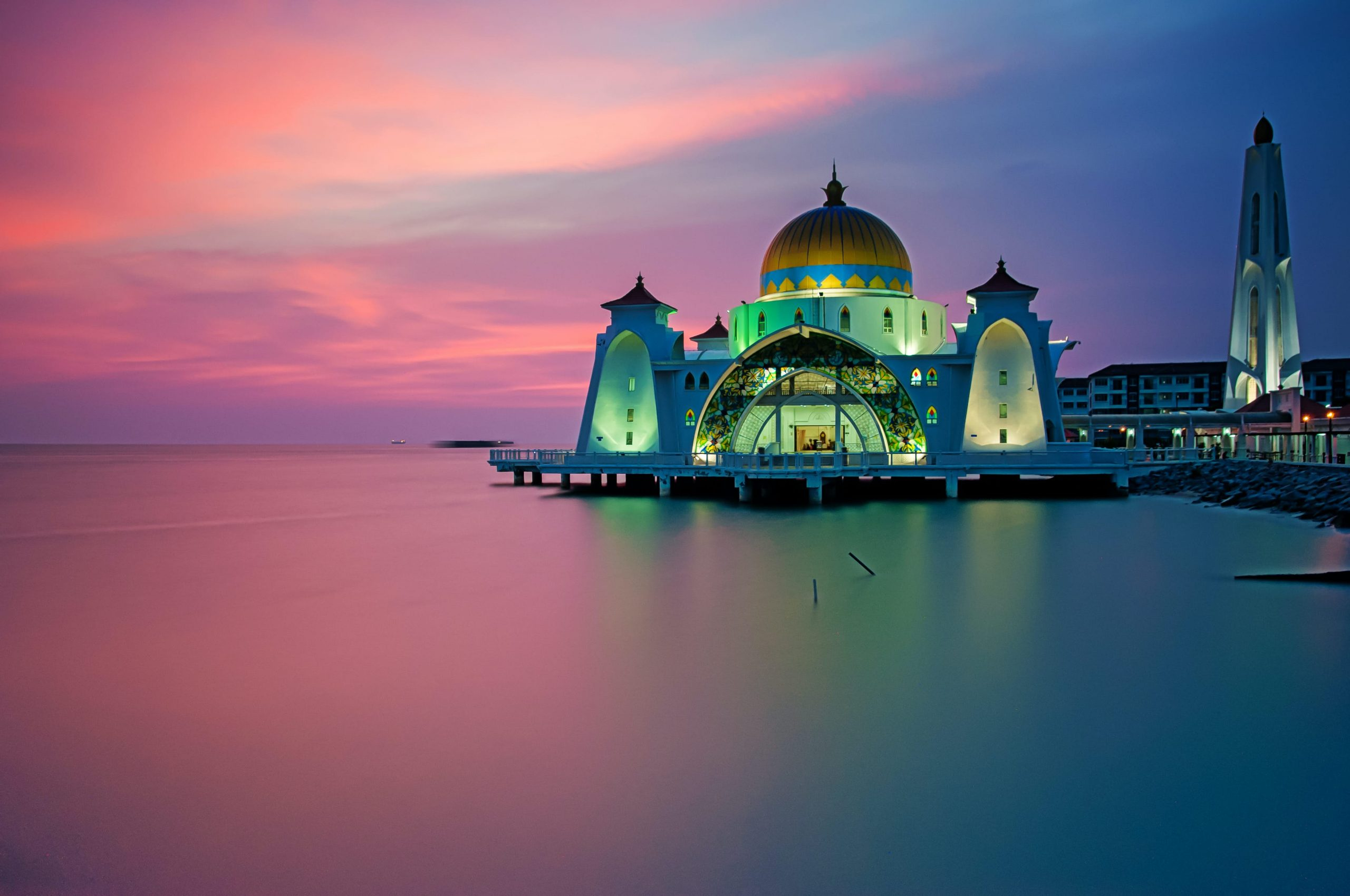 Melaka Straits Mosque, gracing the shores of Melaka, facing the Straits from which it gets its name, is one of many picturesque icons in Melaka